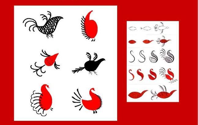 мезенская роспись утки